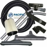 Pacific Floorcare WDV-18 Wet/Dry Vacuum Accessory Kit (Includes 10' hose, 2 cuffs, 2-piece aluminum S-wand, crevice tool, dusting brush, upholstery tool, squeegee tool, floor brush, paper filter, and hard floor tool)