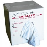 Tee Shirt Cotton Rags Soft White Knit (10 lb. Box, Around 50 rags)